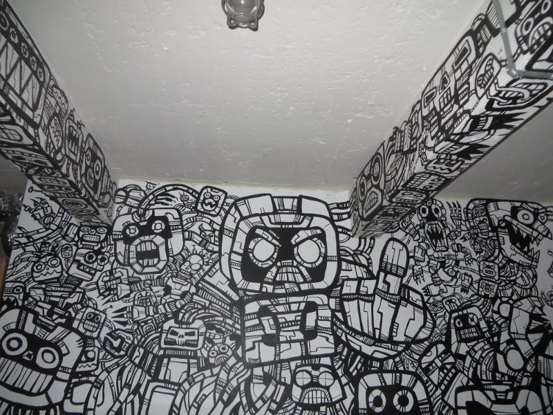 Street Wall Art Black And White : Corporate war paint graffiti mural heyapathy surreal comics